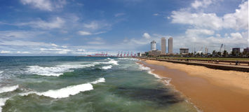 Panorama Galle Face Green Stock Image