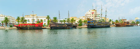 Panorama with galleons Stock Images