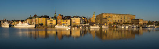 Panorama of Gamla Stan and Royal Castle, Stockholm, Sweden Royalty Free Stock Photo