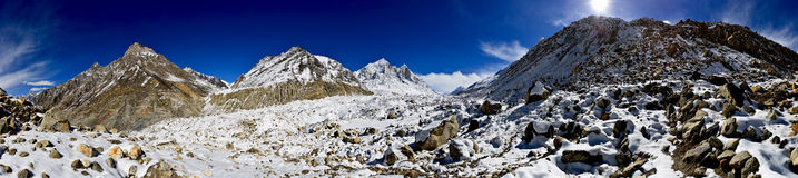 Panorama of Gangotri glacier with Bhagirathi peaks Stock Photo