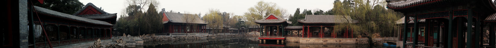 Panorama of a garden. The panorama of a traditional Chinese garden Stock Photo