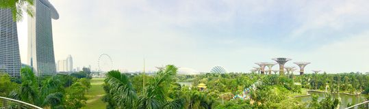 Panorama of Garden by the bay Royalty Free Stock Images