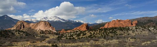 Panorama of the Garden of the Gods Park stock photography