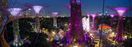 Panorama of Gardens by the Bay during Winter Wonderland stock image