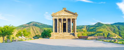 Panorama of Garni Temple. The beautiful Garni Temple is the famous archaeological site, also serving as the neo-pagan shrine, Kotayk Province, Armenia Royalty Free Stock Image