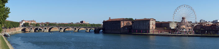 Panorama of Garonne river Royalty Free Stock Photos