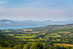 Panorama from Gassin to bay of St. Tropez Stock Images