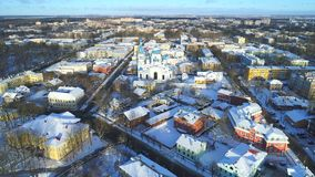 Panorama Gatchina, Januari-dag luchtvideo De winter Rusland stock video