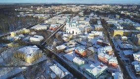 Panorama Gatchina, vídeo aéreo del día de enero Región de Leningrad, Rusia almacen de metraje de vídeo