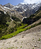 Panorama of Gavarnie circus and valley from mountain slope. In Pyrenees national park, high Pyrenees, France Stock Image