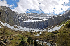 Panorama of Gavarnie Circus with waterfalls, glacier and rivers Royalty Free Stock Photo