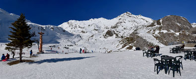 Panorama of Gavarnie-Gedre ski resort seen from picnic area Royalty Free Stock Images