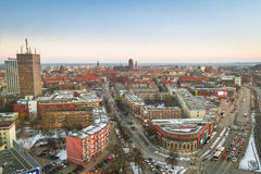 Panorama of Gdansk city centre in winter time Royalty Free Stock Image