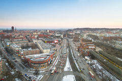 Panorama of Gdansk city centre in winter time Stock Photo