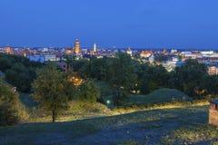 Panorama of Gdansk at night stock photo
