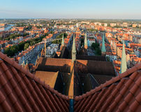 Panorama of the Gdansk old city from St. Mary's Church Stock Photography