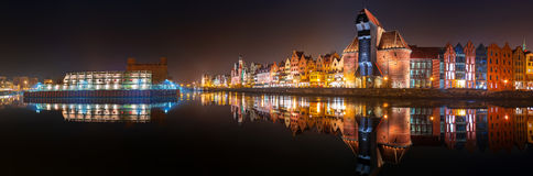 Panorama of Gdansk old town Stock Image