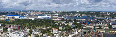 Panorama of Gdynia harbor, Poland Royalty Free Stock Images