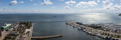 Panorama of Gdynia harbor, Poland Stock Images