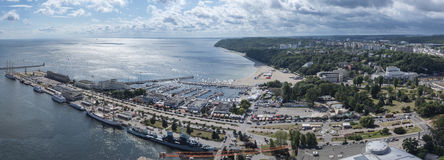 Panorama of Gdynia Kosciuszko harbor, Poland Stock Image