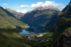 Panorama of Geiranger fjord in Norway Stock Image