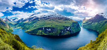 Panorama Geiranger fjord, Norway. Royalty Free Stock Image