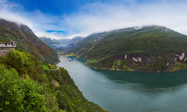 Panorama of Geiranger fjord - Norway Royalty Free Stock Photography