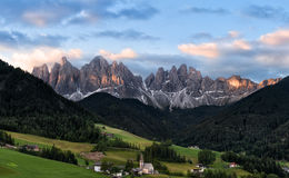Panorama of Geisler (Odle) Dolomites Group Stock Photos