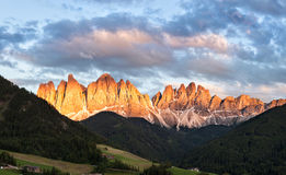 Panorama of Geisler (Odle) Dolomites Group Royalty Free Stock Photo