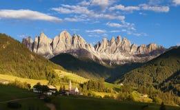 Panorama of Geisler (Odle) Dolomites Group Royalty Free Stock Photo