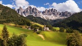 Panorama of Geisler (Odle) Dolomites Group Royalty Free Stock Image