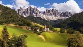 Panorama of Geisler (Odle) Dolomites Group Stock Photos