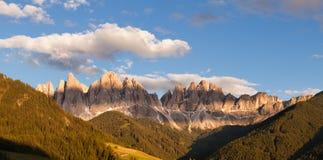 Panorama of Geisler (Odle) Dolomites Group Stock Photo