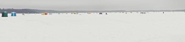 Panorama gelé de lac Photographie stock