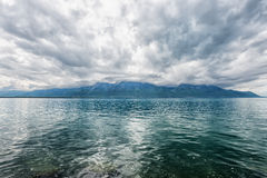 Panorama of Geneva lake near Montreux Royalty Free Stock Photo