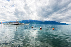 Panorama of Geneva lake with steamboat, Montreux. Switzerland Royalty Free Stock Image