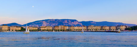 Panorama Geneva Riviera at Sunset Stock Images