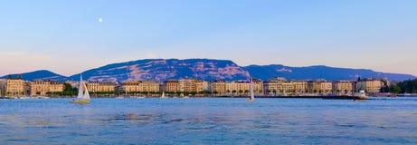 Panorama Genf Riviera am Sonnenuntergang stockbilder
