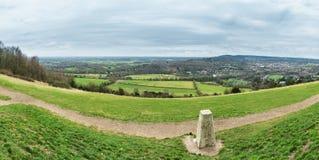 Panorama genommen vom Kasten-Hügel in den Surrey-Hügeln, England, Großbritannien stockbilder