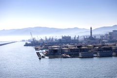 Panorama of the Genova port in Italy. Royalty Free Stock Image