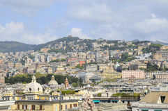 Panorama of Genova, view from port. Genova in spring day with some clouds Royalty Free Stock Images