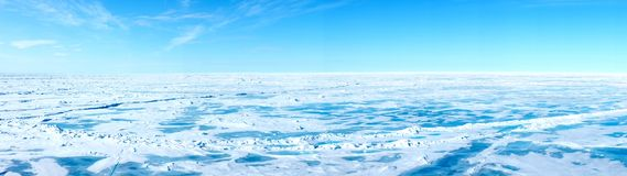 Panorama of the Geographic North Pole Stock Photo