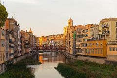 Panorama of Gerona, Costa Brava, Catalonia, Spain. Royalty Free Stock Photo