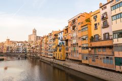 Panorama of Gerona, Costa Brava, Catalonia, Spain. Royalty Free Stock Photography