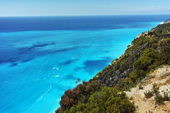 Panorama of Gialos Beach, Lefkada, Ionian Islands Stock Photo