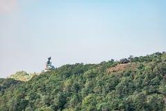Panorama of Giant buddha statue in Lantau Island Royalty Free Stock Images