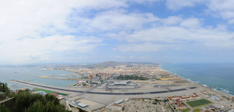 Panorama of Gibraltar with airport Royalty Free Stock Photos