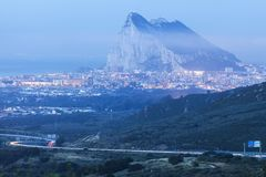 Panorama of Gibraltar and La Linea de la Concepcion Stock Images