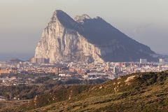 Panorama of Gibraltar seen from La Linea de la Concepcion Stock Photography