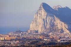 Panorama of Gibraltar seen from La Linea de la Concepcion. La Linea de la Concepcion, Andalusia, Spain Royalty Free Stock Photo